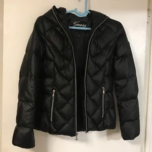 Black Fitted Down feather jacket